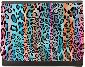 محفظة جلد بتصميم رسمة جلد النمر ، مقاس 12cm X 10cm