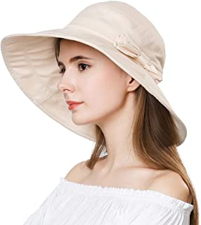 Womens UPF50 Cotton Packable Sun Hats w/Chin Cord Wide Brim Stylish 54-60CM