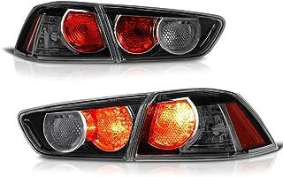 VIPMOTOZ For 2008-2017 Mitsubishi Lancer Ralliart & Evolution Evo X Sedan Black Smoke Euro Style Altezza Tail Brake Light Housing Lamp Assembly Driver and Passenger Side Replacement Pair