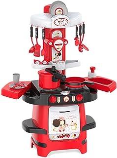 子供用大型キッチン玩具セット 炊飯玩具を調理する男の子と女の子 ハウスストーブ玩具 シミュレーション蛇口玩具 3?7歳の知育玩具 ギフト (Color : Red, Size : 32*56*83cm)