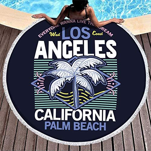 Wraill Los Angeles California - Toalla de playa redonda con borla (150 cm), color blanco