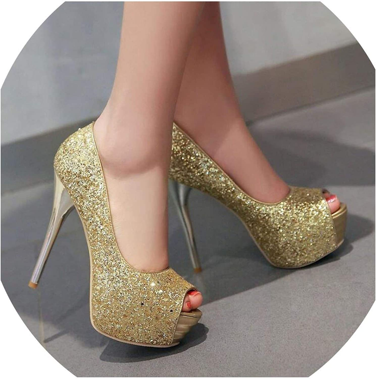 YP-fashion high Heels 13cm Stilettos Wedding shoes Ladies peep Toe gold red Party shoes