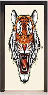 Tiger 3D Door Wallpaper Angry Ready to Attack Beast with Sharp Fangs Jungle Animal Detailed Face of Hunter for Home Decoration Orange Black,W32xH80