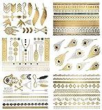 Terra Tattoos Temporary Metallic Tattoos - 75 Boho Gold Tattoos