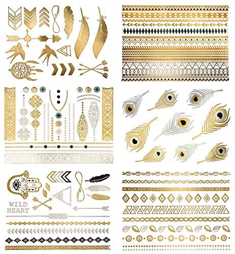 Premium Metallic Tattoos - 75+ Shimmer Designs in Gold, Silver, Black & Turquoise - Temporary Fake Jewelry Tattoos - Bracelets, Feathers, Wrist & Arm Bands, More (Delila Collection) by Terra Tattoos