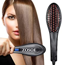 ZOSOE Hair Electric Comb Brush 3 in 1 Ceramic Fast Hair Straightener For Women's Hair Straightening Brush with LCD Screen, Temperature Control Display, Hair Straightener For Women (Black)