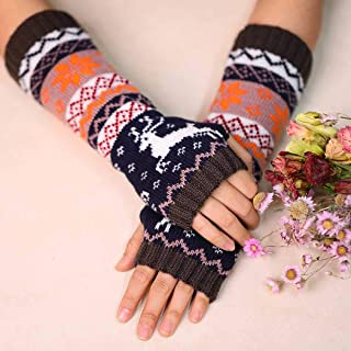 Zoestar Winter Arm Warmers Crochet Knit Fingerless Gloves with Thumb Hole Long Elk Arm Gloves for Women (Grey)