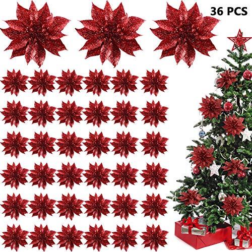 Willbond -  Flores de Pascua artificiales con purpurina para decoración del árbol de Navidad, 36 piezas