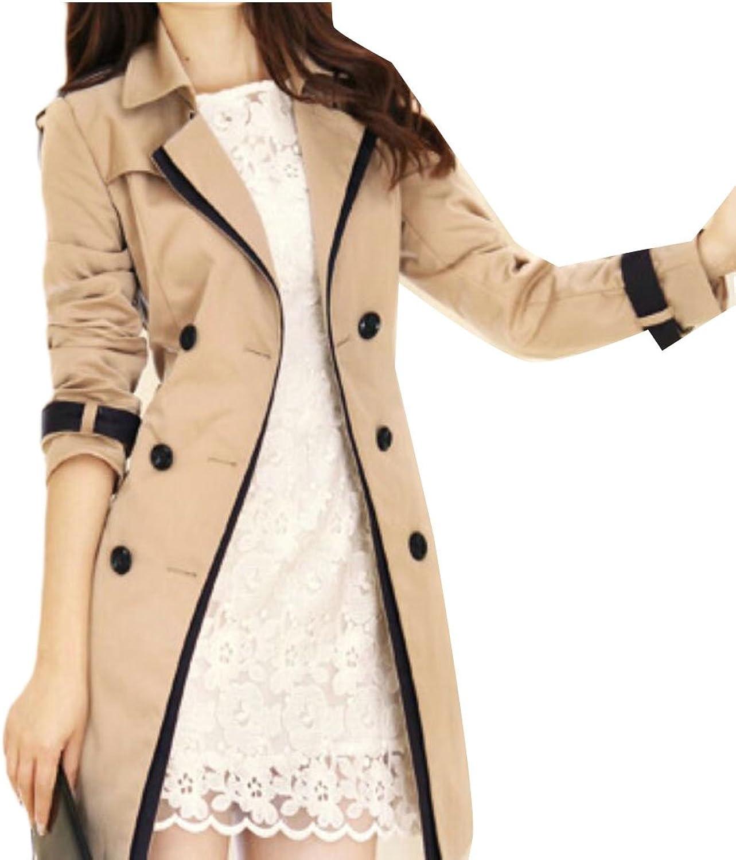 GAGA Women's Lapel Collar Double Breasted Windbreaker Trench Coat