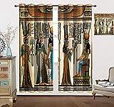 Paneles de cortina exóticos, Papyrus Representting Queen Nefertari Making an Offering to Isis Impresión de imagen cortinas para dormitorio, 304 cm de ancho x 228 cm de largo, multicolor