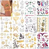 Konsait 150pcs Metallic Temporary Tattoos For Women Girls, Gold Sliver Glitter Design Fake Tattoo, Jewelry Tribal totem Butterfly Flower Feather Waterproof Tattoo,Face Hand Arm Party Decoration Tattoo
