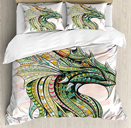 Ambesonne Celtic Duvet Cover Set, Head of Dragon with Ornate Effects on Grunge Backdrop Mythical, Decorative 3 Piece Bedding Set with 2 Pillow Shams, King Size, White Green