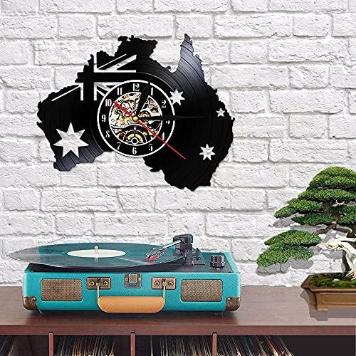 QIANGTOU Australien Karte Patriotische Flagge Vinyl Schallplatte Wanduhr Canberra Melbourne Tourismus Uhr Mit Licht Wohnkultur Kunst Modernes Design