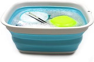 SAMMART 9.45L (2.5 Gallon) Collapsible Tub - Foldable Dish Tub - Portable Washing Basin - Space Saving Plastic Washtub (Bright Blue, M)