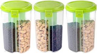 IndiaBigShop 3 Section Transparent Air Tight Kitchen Plastic Jars Food Storage Box Pack of 3- Green color - 900 Ml