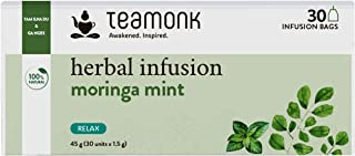 Sponsored Ad - Teamonk Moringa Superfood & Mint Herbal Tea Bags | 30 Teabags | Caffeine Free 100 % Natural Moringa & Mint ...