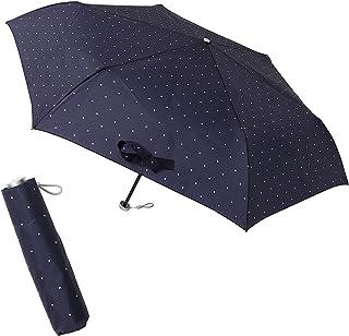 [ムーンバット] urawaza(ウラワザ) 折りたたみ傘 ドット柄 ネイビーブルー 52㎝【3秒で折りたためる傘】