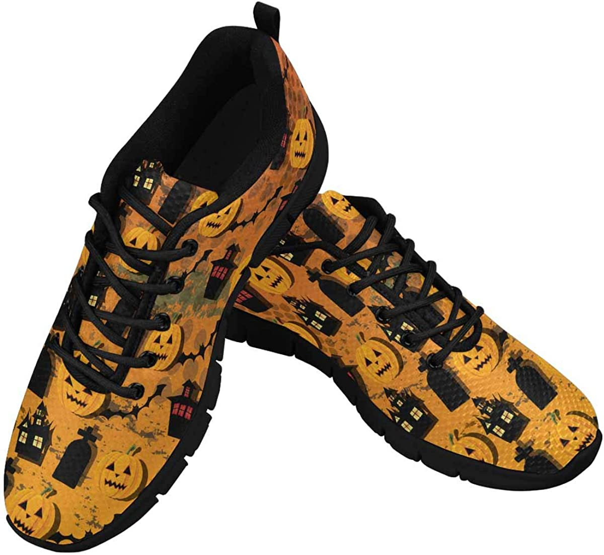 InterestPrint Halloween Wallpaper Women's Running Shoes Mesh Breathable Sports Casual Shoes