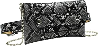 Snakeskin Leather Fanny Pack Crossbody Shoulder Bag Small Clutch Purse Evening Handbag with Removable Strap for Women Girls, Grey (Grey) - NVbb-191706190W-01