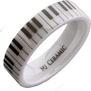 MJ Metals Jewelry White Ceramic Piano Keyboard 6mm or 8mm We