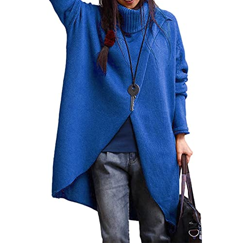 c62caf61a1f Slim Bloom Women s Plus Size Turtleneck Asymmetric Loose Chunky Cable Knit Pullover  Sweaters
