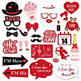 30pcs Valentines Day Photo Booth Props Kit, for Valentines Day Event Party Favors and Decorations, Creative Funny Disguise Props Wedding Decor