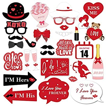 30pcs Valentines Day Photo Booth Props Kit for Valentines Day Event Party Favors and Decorations Creative Funny Disguise Props Wedding Decor