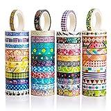 Set di 48rotoli di nastri Washi Tape, da8mm di larghezza, colorati e con motivi floreali. Nastro...