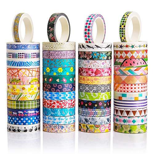 Juego de 48 rollos de cinta adhesiva Washi – 8 mm de ancho, diseño de flores coloridas, cinta de carrocero decorativa para manualidades, álbumes de recortes, papel de regalo