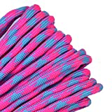 BORED? PARACORD! - 1', 10', 25', 50', 100' Hanks & 250', 1000' Spools of Parachute 550 Cord Type III 7 Strand Paracord Well Over 300 Colors - Cotton Candy - 25 Feet