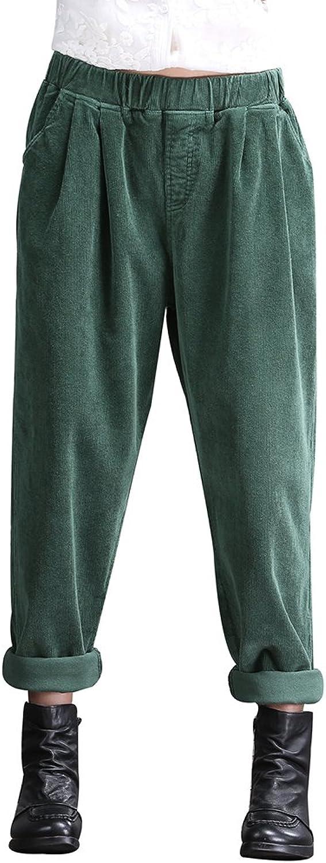 Duberess Women Trousers Casual Loose Cotton Corduroy Pants US(SL)