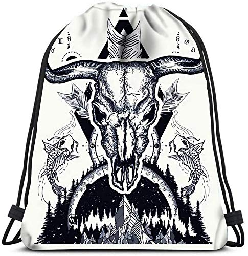 Bull Skull And Mountans Compass Carps Crossed Arrows Tattoo Design Boho Style Advent Portable Shoulder Travel Sport Gym Bag Drawstring Backpacks Storage Bag
