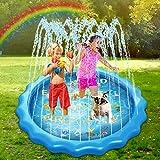 "Splash Pad for Kids, 2020 Upgraded 68"" Kids Sprinkler Water Play Mat, Inflatable"