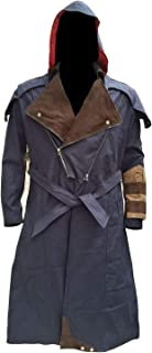 MARCHE Arno Dorian Trench Coat with Detachable Hoodie Cosplay Costume Blue Denim Cloak