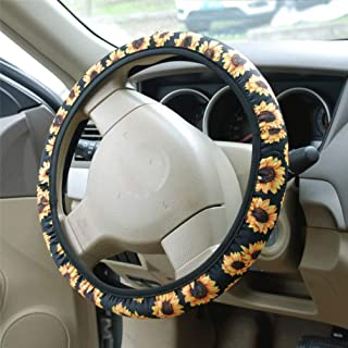 AHSN Sunflower Steering Wheel Cover | Cute and Fashionable Flower Steering Wheel Cover, Universal Steering Wheel Cover for Women, Sunflower car Accessories