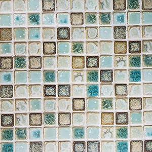 Hode Mosaico Pape Adhesivo para Cocina Azulejo Baño Pegatinas de Baldosas Sticker Vinilos Decorativos Verde 40X200cm
