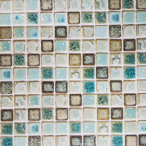 Hode Mosaik Folie Selbstklebende Fliesenfolie Dekorfolie Klebefolie für Küchen Badezimmerwände oder Arbeitsplatten Vinyl Wasserdicht Grün 40X200cm