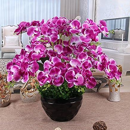 GBHNJ Artificial Flower GBHNJ Faux Fleurs Fixe Europe Style Fleurs En Soie Blanc Phalaenopsis Végétaux artificiels Végétaux artificiels