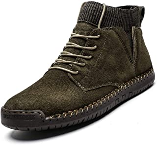 QinMei Zhou Combat Boot for Men High Top Boots Lace Up Suede Anti Slip Soft Knit Sock Shoes Stitching Warmth Outdoor Flats (Fleece Inside Option) (Color : Army Green, Size : 9.5 UK)