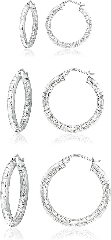 3 Pieces Set Sterling Silver Elegant Earrings Round Diamond-Cut Over item handling ☆ 3mm Hoop