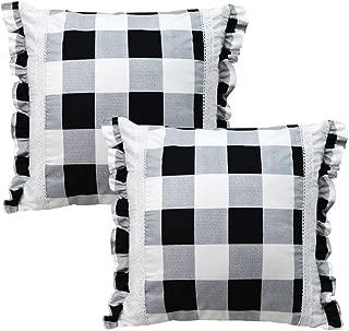 Gingham Buffalo Plaid Euro Sham with White Lace Ruffles Farmhouse Pillow Shams Set of 2,2626 Throw for Couch Sofa Home Decor European, Black and White,2 Pack