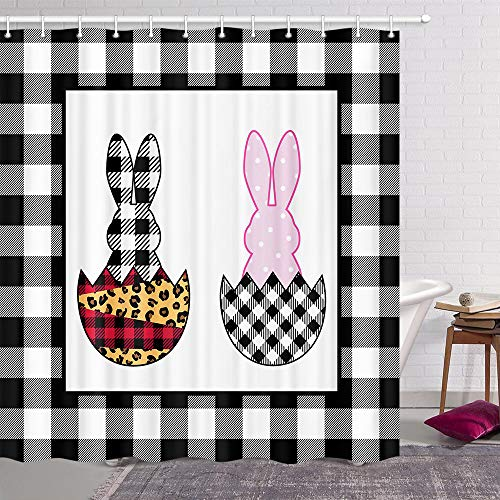 Buffalo karierter Oster-Duschvorhang, lustiger Hasen auf Eiern, für modernes Vintage-Leopardenfarmhaus, Frühlings-Urlaub, Stoff-Duschvorhang-Set, schwarz-weißes Tuch Badezimmer, 175 x 178 cm
