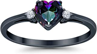 Heart Promise Ring Rainbow Cubic Zirconia Round CZ Black Tone Plated 925 Sterling Silver