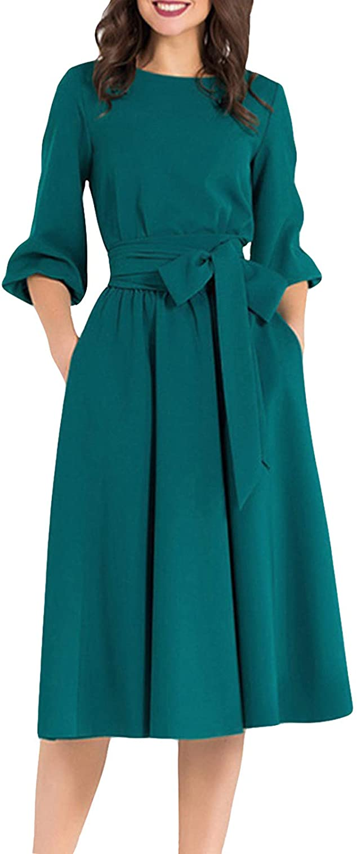 AOOKSMERY Women Elegance Audrey Hepburn Style Round Neck 3/4 Puff Sleeve Swing Midi Dress Long Belt Dresses with Pockets