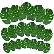 Tropical Palm Leaves 60 Pcs Tropical Party Decoration Monstera Leaf Table Decor Imitation Leaf Perfect For Photo Props Home Birthday Beach Aloha Luau Safari Tropical Party Supplies