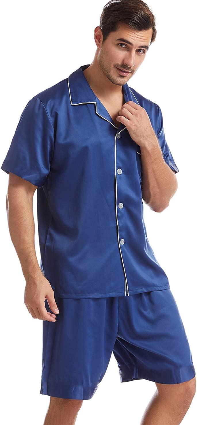 Admireme Mens Satin Pajamas Set Short Pj Set Sleepwear Loungewear Pajama Shorts Nightwear