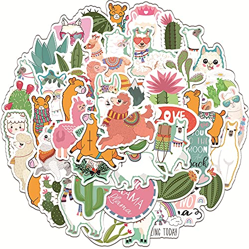 YCYY 50 Lindas Pegatinas de Grafiti de Cactus de Alpaca para Cuaderno, Caja de Palanca de Agua, Pegatinas Impermeables