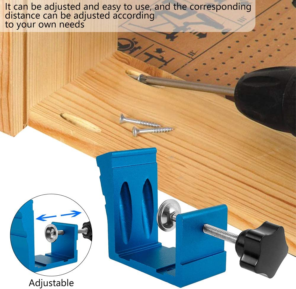 Blue 15 Degree Pocket Hole Screw Jig Dowel Drill Joinery Kit 46PCS Woodworking Angle Drilling Guide Angle Tool Kit Hole Positioner Locator Tool Carpentry Locator Craft