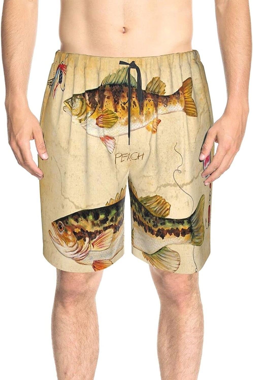 Men's Swim Shorts Sport Fishing Lure Perch Bass Beach Board Shorts Drawstring 3D Printed Swimwear Beach Shorts with Pockets