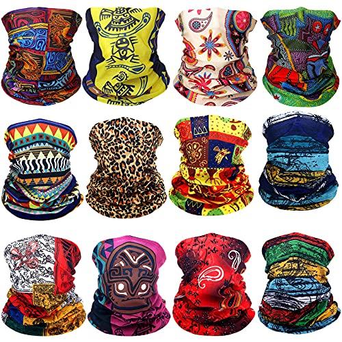 12 Pieces African Face Covering Bandanas Boho Neck Gaiter Balaclava Head Wrap Scarf for Women, Multi-color, Medium